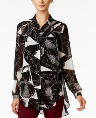 Alfani Printed Button-Front Blouse, Only at Vogily