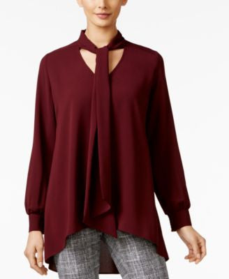Alfani Tie-Neck High-Low Blouse, Only at Vogily