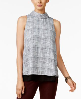 Alfani Petite Printed Layered-Look Top, Only at Vogily