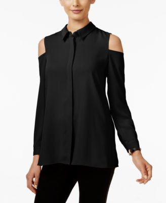 Alfani Petite Cold-Shoulder Blouse, Only at Vogily