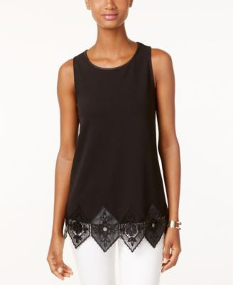 Alfani Sleeveless Faux-Leather Trim Top, Only at Vogily