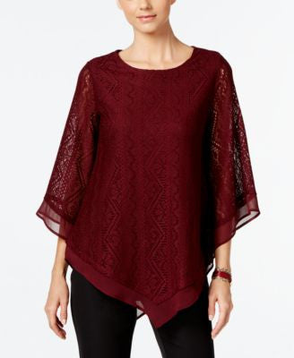 Alfani Lace Poncho Knit Top, Only at Vogily