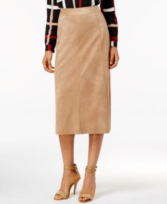Alfani Faux-Suede Midi Pencil Skirt, Only at Vogily