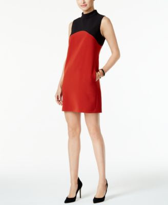 Alfani Petite Mock-Neck Colorblocked Shift Dress, Only at Vogily