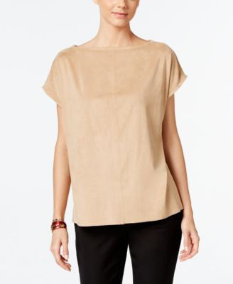 Alfani Faux-Suede Boat-Neck Top, Only at Vogily