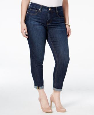 Melissa McCarthy Seven7 Trendy Plus Size Dark Blue Wash Girlfriend Jeans