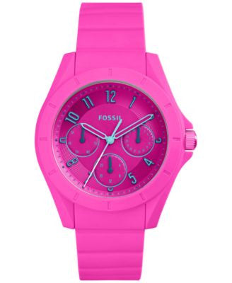 Fossil Women's Poptastic Pink Silicone Strap Watch 38mm ES4065