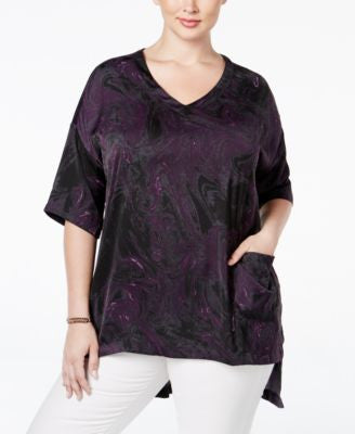 Melissa McCarthy Seven7 Trendy Plus Size Printed High-Low Top