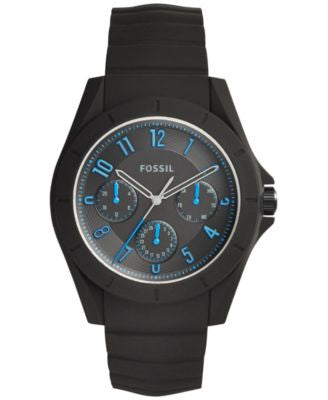 Fossil Men's Poptastic Black Silicone Strap Watch 44mm FS5222