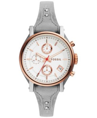 Fossil Women's Chronograph Original Boyfriend Gray Leather Saddle Strap Watch 38mm ES4045