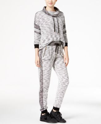 Material Girl Active Marled Contrast Hoodie & Jogger Pants, Only at Vogily