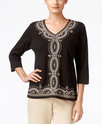 Alfred Dunner Madison Park Collection Beaded Embroidered Top