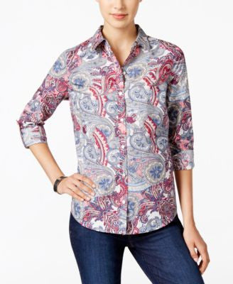 Charter Club Paisley-Print Roll-Tab Shirt, Only at Vogily