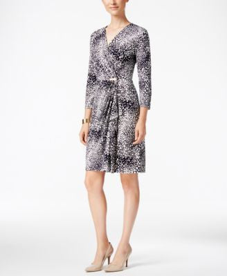 Charter Club Petite Printed Faux-Wrap Dress, Only at Vogily