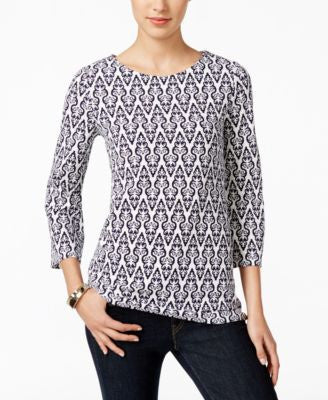 Charter Club Printed Three-Quarter-Sleeve Top, Only at Vogily