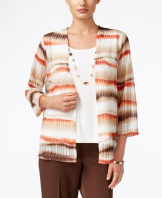 Alfred Dunner Santa Fe Collection Striped Layered-Look Top