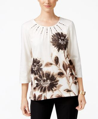 Alfred Dunner Madison Park Collection Metallic Floral-Print Top