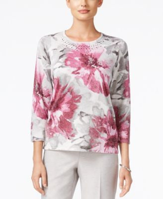 Alfred Dunner Veneto Valley Collection Floral-Knit Metallic Knit Top