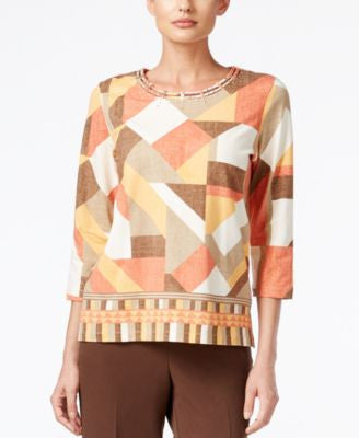 Alfred Dunner Santa Fe Collection Patchwork-Print Studded Top