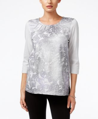 Alfred Dunner Petite Veneto Valley Printed Metallic Top
