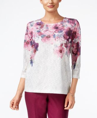 Alfred Dunner Veneto Valley Collection Floral-Print Textured Top