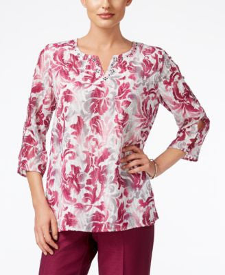 Alfred Dunner Veneto Valley Collection Printed Split-Neck Top