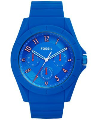 Fossil Men's Poptastic Blue Silicone Strap Watch 44mm FS5219