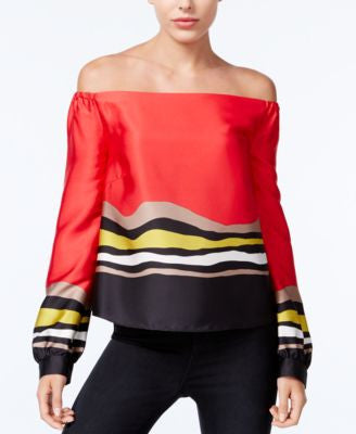 RACHEL Rachel Roy Striped Off-The-Shoulder Top