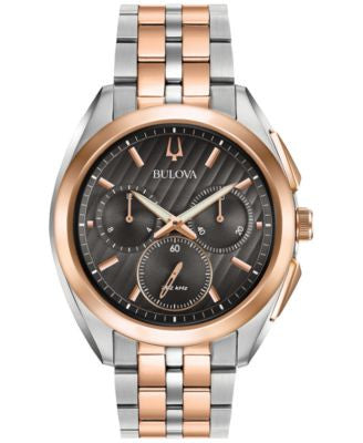 Bulova Men's Chronograph Curv Two-Tone Stainless Steel Bracelet Watch 45mm 98A160