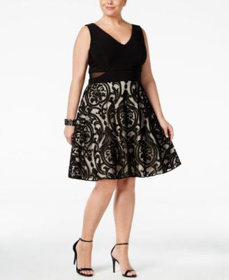 Xscape Plus Size Illusion V-Neck Fit & Flare Dress
