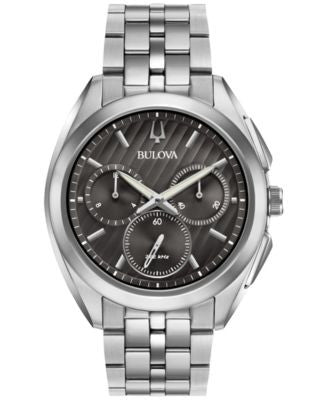 Bulova Men's Chronograph CURV Stainless Steel Bracelet Watch 45mm 96A186