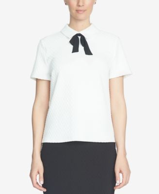 CeCe Short-Sleeve Tie-Neck Blouse