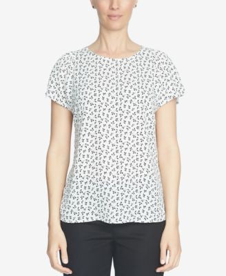 CeCe Short-Sleeve Printed Blouse