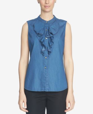 CeCe Denim Ruffled Button-Front Blouse
