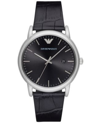 Emporio Armani Men's Luigi Black Leather Strap Watch 43mm AR2500