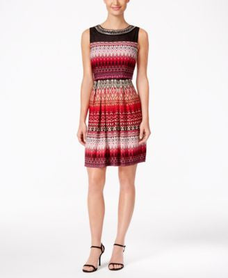 Sandra Darren Embellished Illusion Fit & Flare Dress