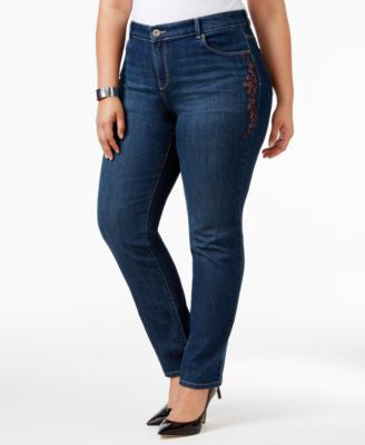 Style & Co. Plus Size Embroidered Marseilles Wash Slim-Leg Jeans, Only at Vogily