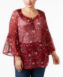 Style & Co. Plus Size Bell-Sleeve Sheer Peasant Top, Only at Vogily