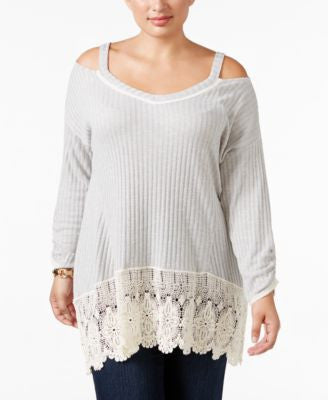 Style & Co. Plus Size Cold-Shoulder Crochet Hem Top, Only at Vogily