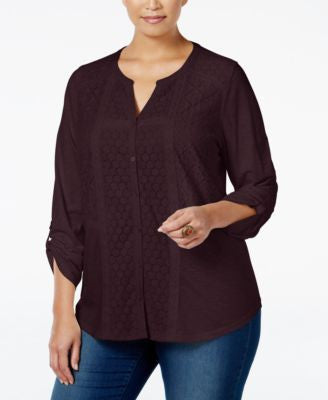 Style & Co. Plus Size Plus Size Lace-Trim Top, Only at Vogily