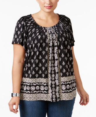 Style & Co. Plus Size Pleated-Neck Printed Top, Only at Vogily