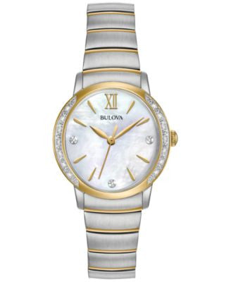 Bulova Women's Diamond Accent Two-Tone Stainless Steel Bracelet Watch 28mm 98R231