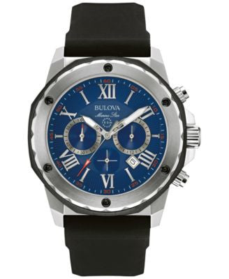 Bulova Men's Chronograph Marine Star Black Silicone Strap Watch 44mm 98B258