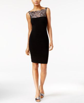 Calvin Klein Pleated Lace Illusion Sheath Dress