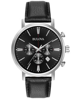 Bulova Men's Chronograph Dress Black Leather Strap Watch 41mm 96B262