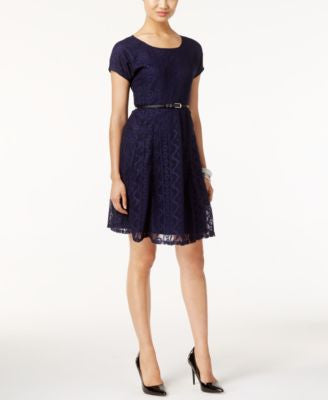 NY Collection Petite Belted Lace Fit & Flare Dress
