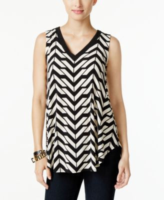 Alfani Petite Embellished Printed Swing Top, Only at Vogily