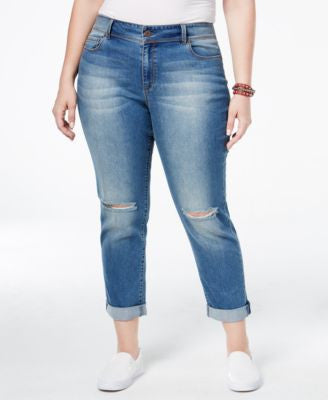 American Rag Trendy Plus Size Kimber Wash Ripped Girlfriend Jeans, Only at Vogily