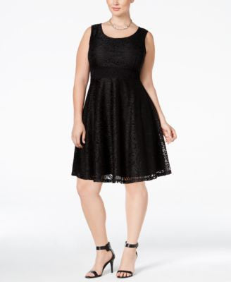 American Rag Trendy Plus Size Lace Fit & Flare Dress, Only at Vogily