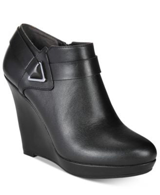 Bar III Tiger Triangle Buckle Wedge Booties, Only at Vogily